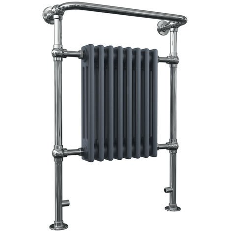 HB Signature Adara Anthracite Floor Mounted Traditional Heated Towel Rail 963mm x 673mm Central Heating