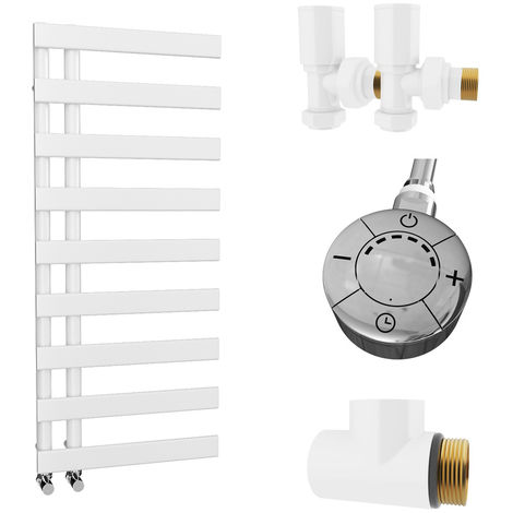 HB Signature Agora Reversible Flat Tube White Designer Heated Towel Rail 1156mm x 500mm Dual Fuel - Thermostatic