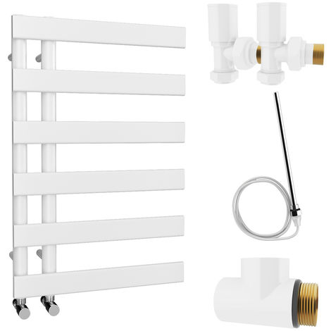 HB Signature Agora Reversible Flat Tube White Designer Heated Towel Rail 748mm x 500mm Dual Fuel - Non-Thermostatic