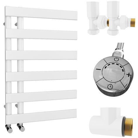 HB Signature Agora Reversible Flat Tube White Designer Heated Towel Rail 748mm x 500mm Dual Fuel - Thermostatic