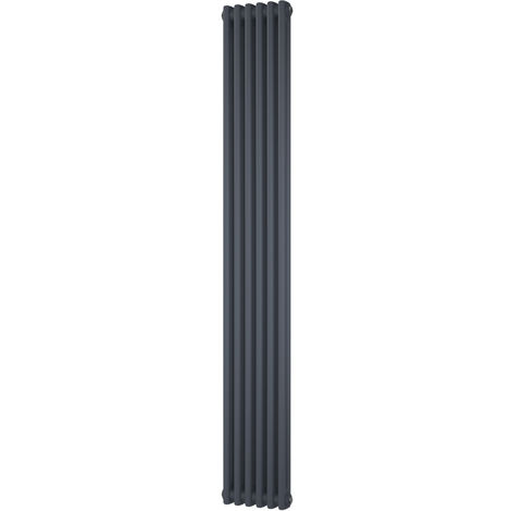 HB Signature Alpha Traditional Anthracite Vertical Column Radiators 1800mm x 284mm 2 Column