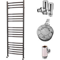 HB Signature Astro Stainless Steel Curved Ladder Heated Towel Rails 1200mm x 400mm Dual Fuel - Thermostatic