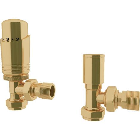 "HB Signature Thermostatic TRV Brass Antique Brass Radiator Valves + Lockshield 1/2"" x 15mm Pack Angled"