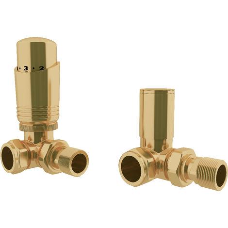 "HB Signature Thermostatic TRV Brass Antique Brass Radiator Valves + Lockshield 1/2"" x 15mm Pack Corner"