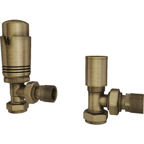 "HB Signature Thermostatic TRV Brass Disheveled Brass Radiator Valves + Lockshield 1/2"" x 15mm Pack Angled"