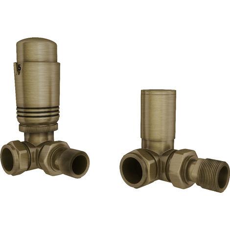 "HB Signature Thermostatic TRV Brass Disheveled Brass Radiator Valves + Lockshield 1/2"" x 15mm Pack Corner"
