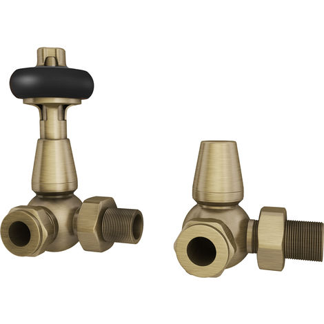 "HB Signature Thermostatic TRV Radiator Valves Antique Brass Traditional Wooden Head + Lockshield 1/2"" x 15mm Corner"