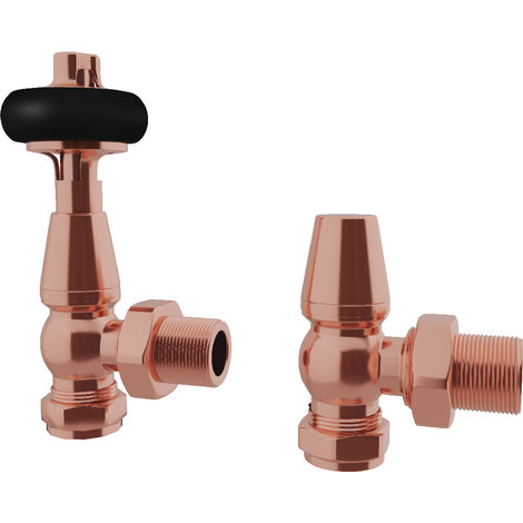 """HB Signature Thermostatic TRV Radiator Valves Copper Traditional Wooden Head + Lockshield 1/2"""" x 15mm Pack Angled"""