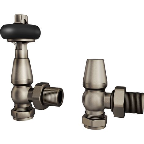 "HB Signature Thermostatic TRV Radiator Valves Natural Pewter Traditional Wooden Head + Lockshield 1/2"" x 15mm Pack Angled"