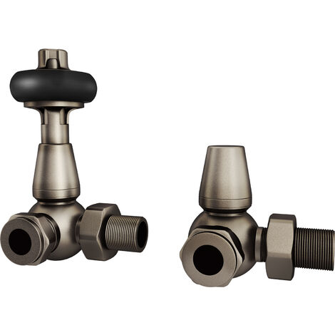 "HB Signature Thermostatic TRV Radiator Valves Natural Pewter Traditional Wooden Head + Lockshield 1/2"" x 15mm Pack Corner"