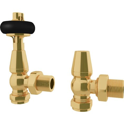 """HB Signature Thermostatic TRV Radiator Valves Polished Brass Traditional Wooden Head + Lockshield 1/2"""" x 15mm Angled"""