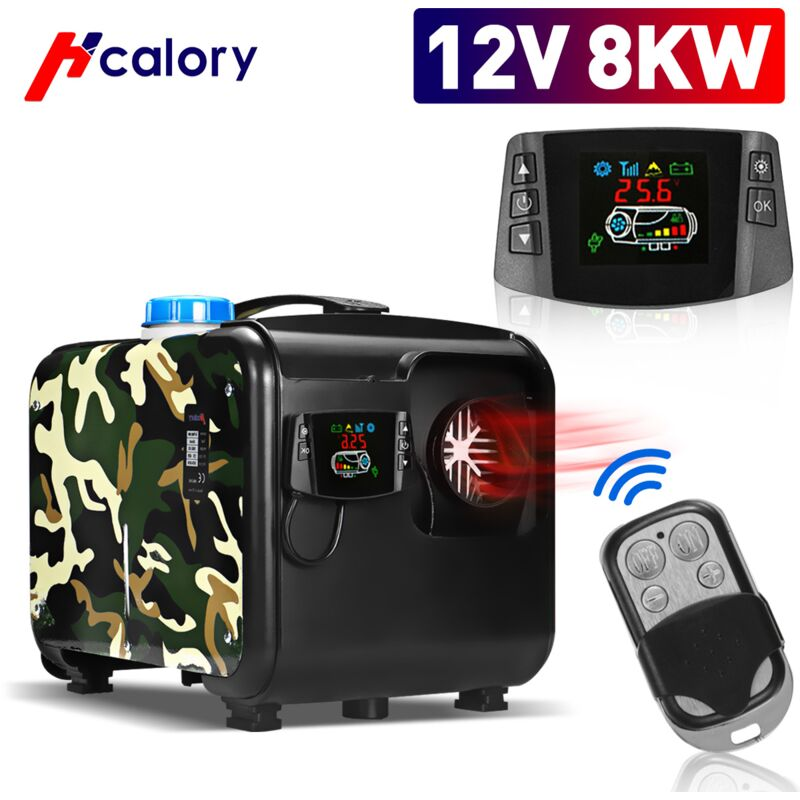 HCalory 8KW 12V Chauffage chauffe-air diesel LCD pour voiture camion Camouflage