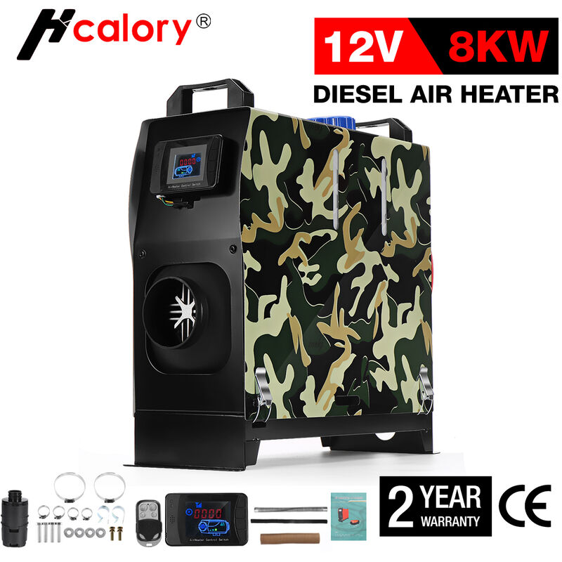HCalory Chauffage chauffe-air diesel 8KW 12V Camouflage Hiver