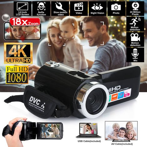 HD 1080P LCD 18X ZOOM Videocámara Cámara Video Visión nocturna Video digital DV con pantalla táctil