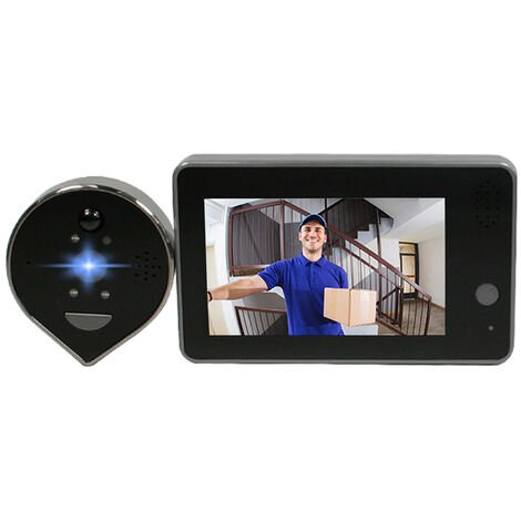 """main image of """"HD 1080P Peephole Door Camera Doorbell Digital Door Viewer 4.3-inch LCD Screen Night Vision Photo Shooting WiFi Connection Wecsee APP Control for Home Security"""""""