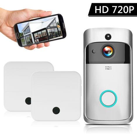 HD 720P video sin hilos, intercomunicador de video telefono de la puerta, con Baterias y 2 Chimes, Plata