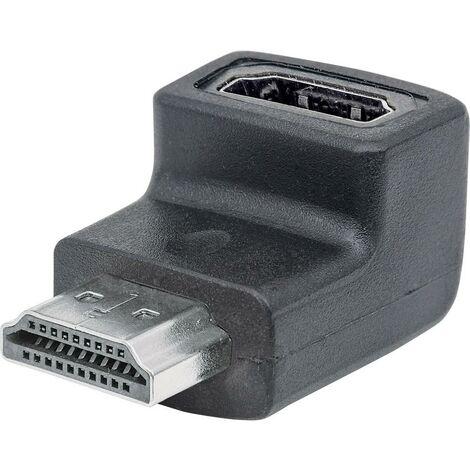 HDMI Adaptateur Coudé vers le haut à 90° [1x HDMI mâle - 1x HDMI femelle] noir contacts dorés Manhattan