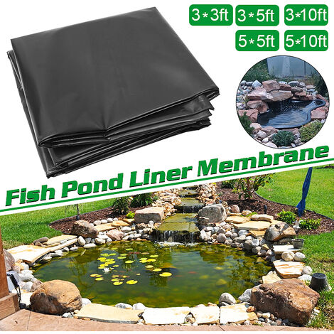 HDPE Fish Pool Pond Liner Reinforced Membrane Gardens Swimming Pools Landscaping Black, 1.5mm thick, Corrosion / UV resistance