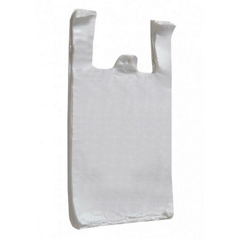 Image of Lesta Packaging Plc - HDPE Vest Plastic Carrier Bags (Pack Of 100) (H60 x W47 x D73.5cm) (Sapphire Elephant (White))