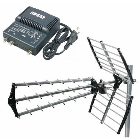 HDSAT Antenne TNT Trinappe Gain 18dB + Amplificateur tnt 2 Sorties