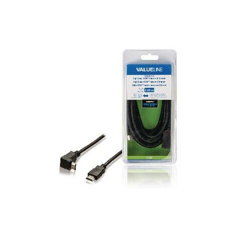 HDSAT Câble HDMI 3M avec Ethernet haute vitesse AM - AM angle 270 Connecteur HDMI - Connecteur HDMI Coudé à 270° - Noir