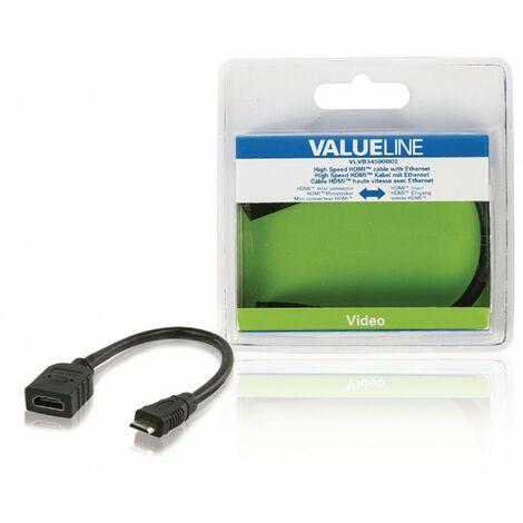 HDSAT Câble HDMI avec Ethernet haute vitesse HDMI Mini Mâle - HDMI femelle 0.20 m Noir - Noir