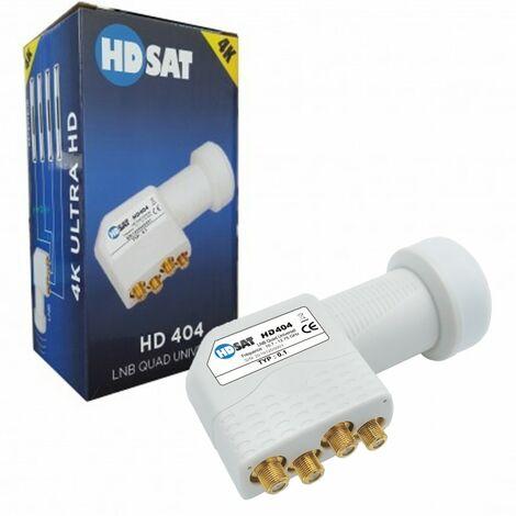 HDSAT HD404 LNB Quad Full HD 4K Tête Parabole 4 sorties 0,1dB
