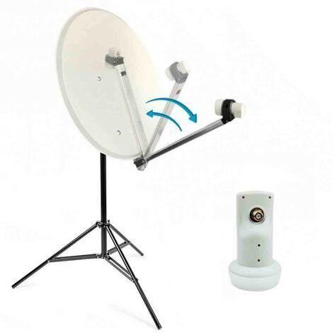"main image of ""HDSAT Kit camping car Parabole Satellite acier 65cm avec bras repliable + LNB Single HDSAT + Trepied - Blanc"""