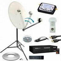 Hdsat Kit Parabole Acier 60cm Bras Repliable Récepteur Tntsat Lnb Single Câble Coaxial Trepied Pointeur Satellite