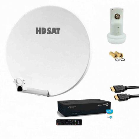 HDSAT Pack Parabole fibre 60cm avec LNB single + Récepteur FRANSAT + Câble HDMI