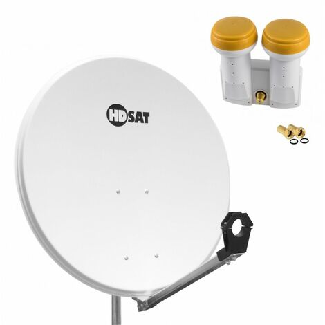 HDSAT Parabole satellite acier BLANCHE 80cm + LNB Monobloc Single 0,1dB Golden Media 0,1dB + 4 Fiches F - Blanc