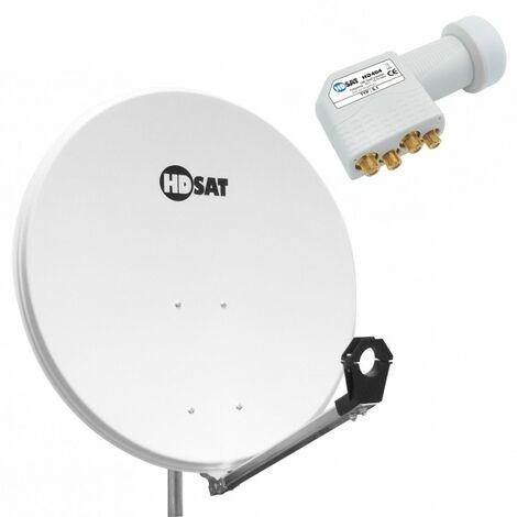 HDSAT Parabole satellite acier BLANCHE 80cm + LNB Quad Universel 0,1dB - Blanc