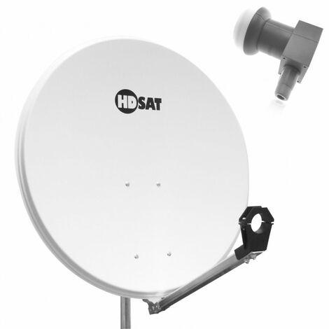 HDSAT Parabole SATELLITE acier blanche 80cm + LNB Single Cahors 0.1dB idéal Astra Eutelsat - Blanc