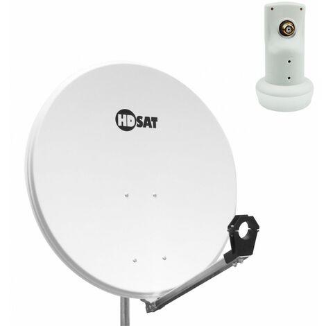 HDSAT Parabole satellite acier Blanche 80cm + LNB Single HD 4K idéal ASTRA EUTELSAT - Blanc