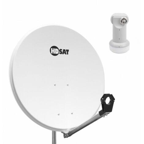 HDSAT Parabole SATELLITE acier blanche 80cm + LNB Single Triax 0.1dB idéal Astra Eutelsat - Blanc