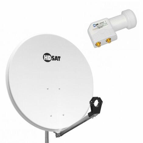 HDSAT Parabole satellite acier BLANCHE 80cm + LNB Twin Universel 4K 0,1dB - Blanc