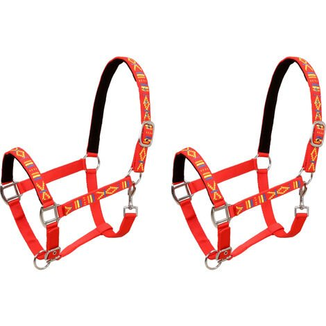 Head Collars 2 pcs for Horse Nylon Size Cob Red