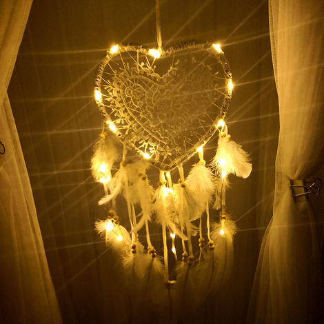 Heart Shape Handmade Dream Catchers with Led lighting Hand Made Wall Hanging Decoration Ornament Craft Gifts Perfect