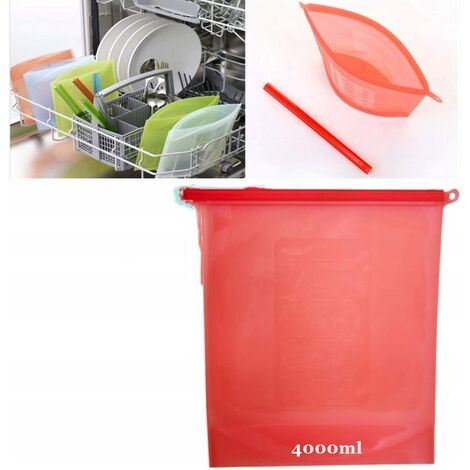 Heat and reusable silicone food conservation bags, food conservation bags, hermetically sealed food conservation containers, ecological polyvalent cooking bags to conserve fruits and vegetables (4000 ml)