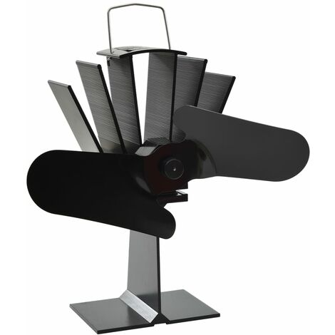 Heat Powered Stove Fan 2 Blades Black