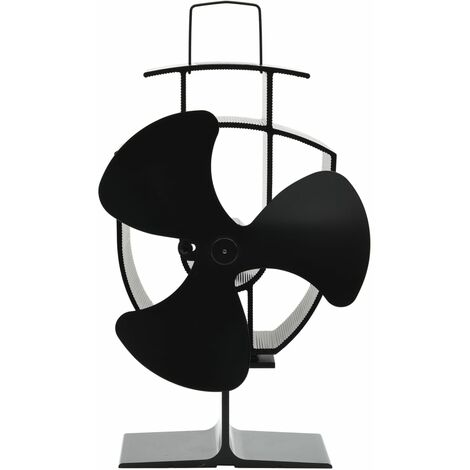 Heat Powered Stove Fan 3 Blades Black