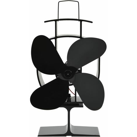 Heat Powered Stove Fan 4 Blades Black
