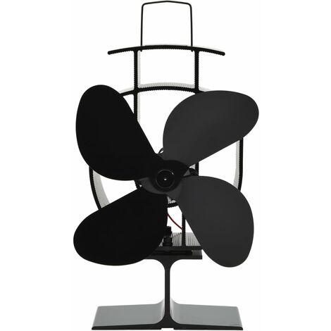 Heat Powered Stove Fan 4 Blades Black - Black