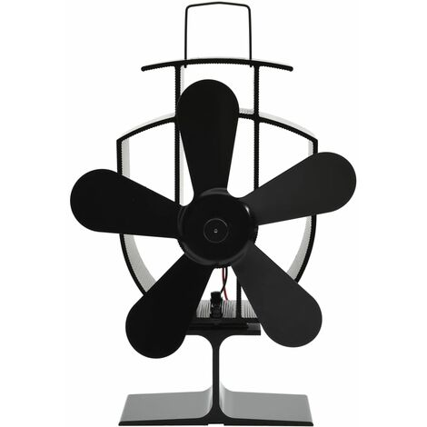 Heat Powered Stove Fan 5 Blades Black