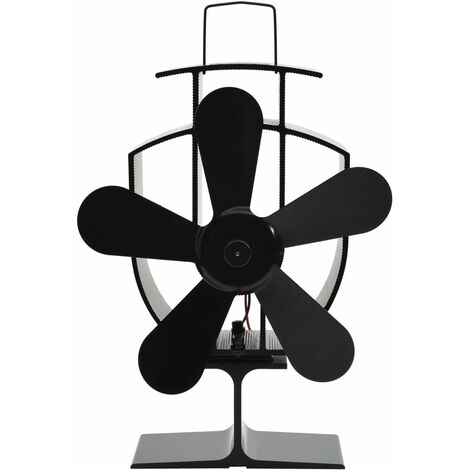 Heat Powered Stove Fan 5 Blades Black - Black