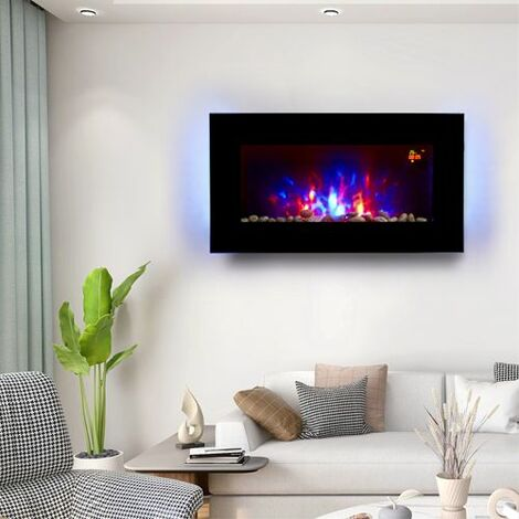 HEATSURE Wall Mounted Electric Fireplace Remote Control LED 7 Color Backlit 2KW EF851KB