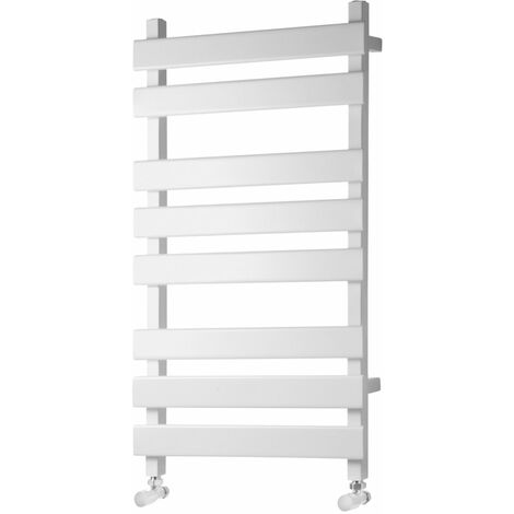 Heatwave Perlo Flat Panel Heated Towel Rail 800mm H x 500mm W - White