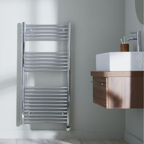 Heatwave Richmond Thermostatic Electric Straight Towel Rail 1186mm H x 600mm W - Chrome