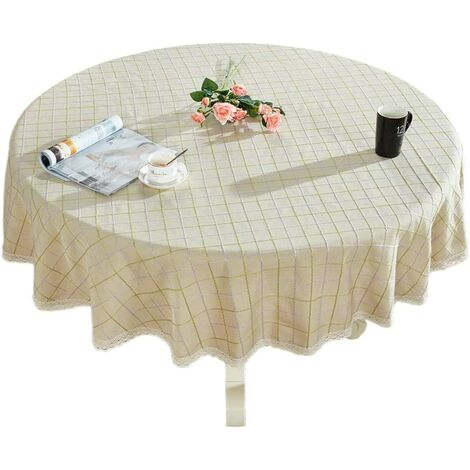 """Heavy Cotton Linen Lace Round Round Table for Kitchen Lace for Kitchen Dining Table Decoration, 48 """"- Round, Beige"""