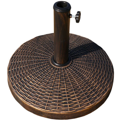 Heavy Duty 12kg Rattan Effect Garden Umbrella Stand Black Parasol Base Weight